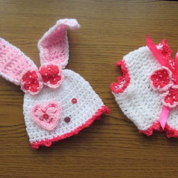 Bunny hat  and diaper pattern, crochet bunny pattern - Newborn up to 12 months