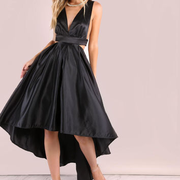 Black Satin Halter High Low Satin Dress