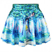 Aoki Fashion - Alice In Wonderland Print High-waisted Flared Skirt