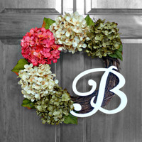 Pink Green and Cream Hydrangea Wreath - Mongram Wreath - Initial Wreath -  Summer Wreath - Front Door Wreath - Monogrammed Wreath