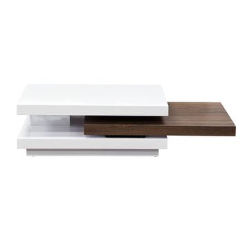 Two-Tone High Gloss White Lacquer with Java Rectangular Cocktail Table with Rotating Function