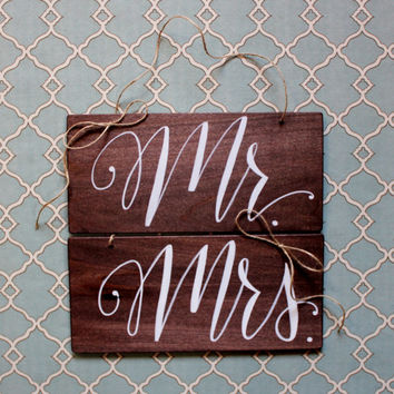 Wedding Couple Table Rustic Wood Chair Signs Mr. and Mrs.