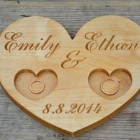 Personalized Wood Wedding Ring Bearer Pillow, Rustic Ring Holder