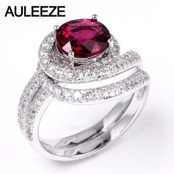 AULEEZE 1.5CT Oval Cut Natural Rubellite Red Tourmaline Ring Real Diamond 18K White Gold Engagement Rings For Women Fine Jewelry