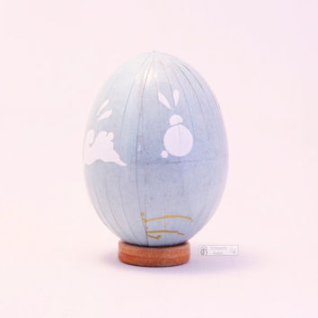 Powder blue easter egg, Japanese washi Chiyogami paper, decorated egg, easter ornament, decoupage chicken egg, bunny, rabbit, baby blue