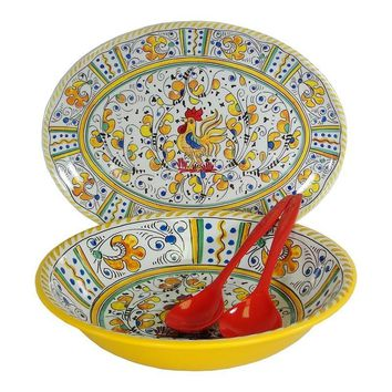 Rooster Yellow 4 Piece Serving Set