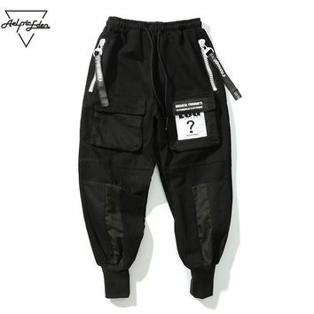 Cargo Pant Black Men Joggers Pants Ribbon Hip Hop Sweat pants Winter Casual Pants Man Elastic Trousers