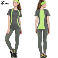 Stretch Stripe High Elastic Women Yoga Sets Exercise Sportswear Fitness Running Suits