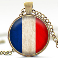 French Flag Necklace, France Jewelry, French Flag Pendant, Your Choice of Finish (1727)