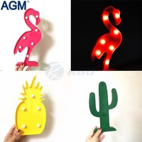 INS Cactus Flamingo Pineapple LED Battery Nightlight 3D Marquee Desk Table Lamp Letter For Kids Gift Decoration 3D Night Light