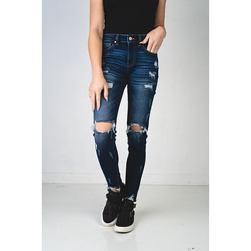 Beth Dark Wash Kan Can Distressed Skinny Jeans