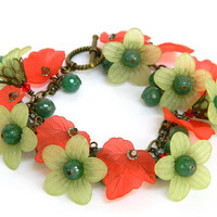 Red and Green Christmas Bracelet Handcrafted Lucite Flowers Crystal Jewelry