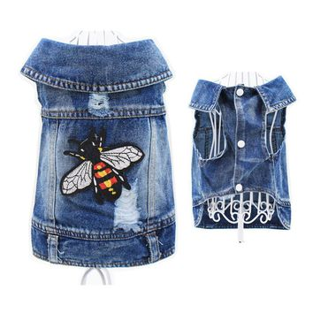 Fly Design Puppy Denim Outfit Pet Cat Jeans Vest Doggies Coat Dog Jacket Clothing Dog Clothes for Small Dogs Cowboy Costumes