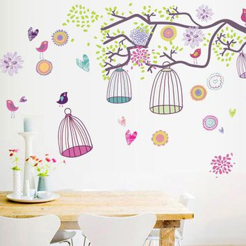 Colorful bird Cage Morning of Bohemia ZOO For Kids Baby Room DIY Wall Sticker Living Room Background Wallpaper Decor Decal AY993