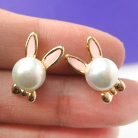 Small Pearl Bunny Rabbit Ears Animal Stud Earrings