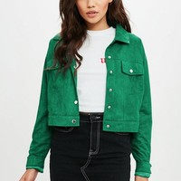 Missguided - Green Faux Suede Ultimate Trucker Jacket