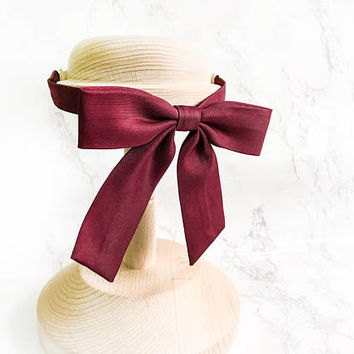 Weekend Favorites Women Burgundy Bow tie, Classic Women Red Bow Ties, Parisian Style Bow Tie, School Girls Ladies Maroon Bow Ties