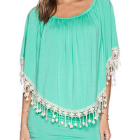 Green Off Shoulder Fringe Dress