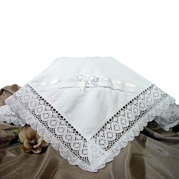 Cluny Lace & Cotton Batiste White Handmade Blanket  (Infant Girls)