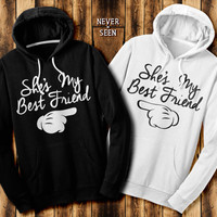 She's My Best Friend two matching hoodie contrast sweatshirts Mickey