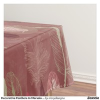 Decorative Feathers in Marsala Wine Tablecloth
