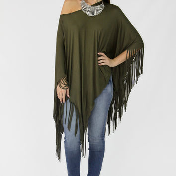 All Around the World Poncho - Olive