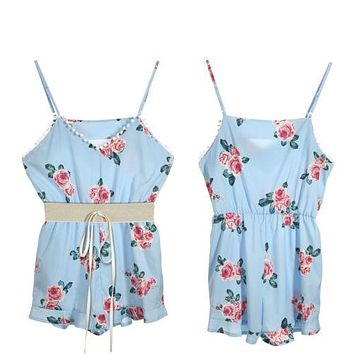 Women Ladies Clothing Deep V-Neck Summer Romper Jumpsuit Sleeveless Party Beachwear Clothes Women