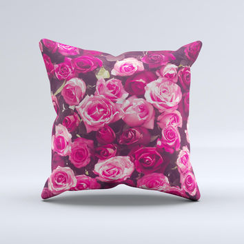 The Vibrant Pink Vintage Rose Field ink-Fuzed Decorative Throw Pillow