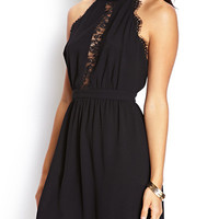 Black Scallop Trimmed Halterneck Backless Mini Dress