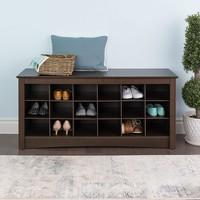 Espresso Finish Shoe Rack Cubbie Storage Bench