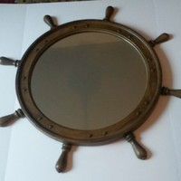 Basic Wirtz Ships Wheel Nautical Mirror Mid Century Modern 33""