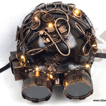 Steampunk Mask With Goggles And Lights