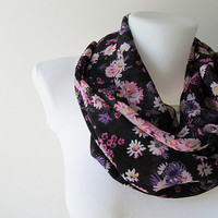 Black Floral Pattern Chiffon Infinity Scarf - Circle Scarf - Loop Scarf - Fall Winter Summer Fashion
