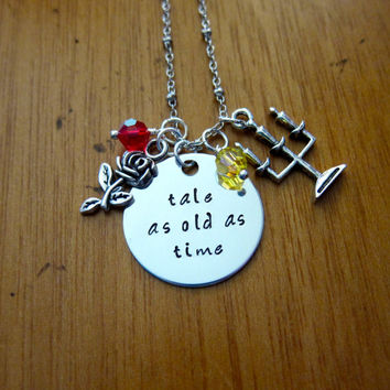 """Disney's """"Beauty and the Beast"""" Inspired Necklace. Belle. Tale As Old As Time. Silver colored, Swarovski crystal, for women or girls"""