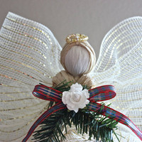 Angel Tree Topper - Raffia Angel - Christmas Tree Topper - Cream & Gold Raffia Angel w/ Plaid Ribbon White Flower and Gold Beaded Halo