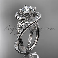 Unique 14kt white gold diamond leaf and vine wedding ring, engagement ring ADLR222