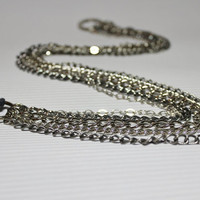 Multi Chain Long Necklace / Gray Leather Strap,Layered  Necklace