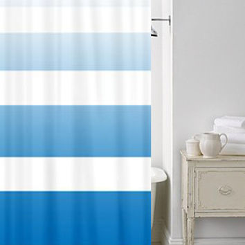 Beach House Chic Shower Curtain - Sky Blue Ombre Stripe - blue, fade , art, minimalist, minimal decor