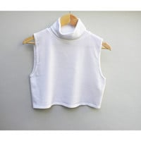 90s vintage cropped knit sleeveless turtleneck, White, women's large