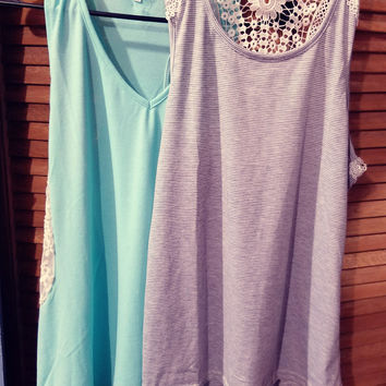 CASUAL LACE INSERT TANK