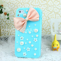 unique bowknot iphone 5 cases, handmade pearls iphone 4s case, bling bling iphone 4 case, iphone case cover