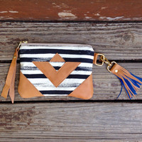 Geometric triangle and stripes Wallet, art gallery print