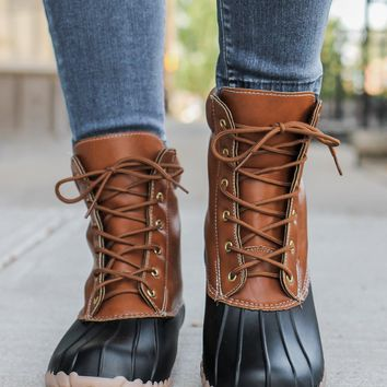 Autumn Showers Duck Boots - Cognac
