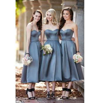 Elegant Silver Grey Sweetheart Tea Length Bridesmaid Dress, A Line Satin Formal Gown