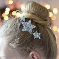 Glitter Stars Boho Hair Clip Cosmic Simmering Headpiece - Three Stars in Silver Fabric - Headband Party Wear - Girls - Women Accessory