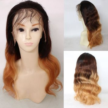 Long Free Part Loose Wave Colormix Indian Lace Front Human Hair Wig - Gradual Brown