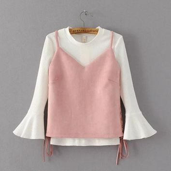 Condole belt + round collar horn sleeve knit two-piece outfit