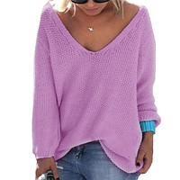 *online exclusive* v neck long sleeve sweater