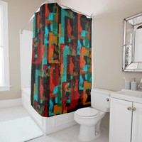 Warm Colorful Geometric Pattern Shower Curtain