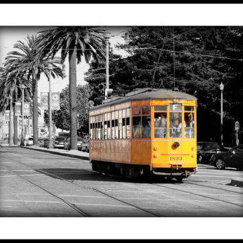 San Francisco cable car black and white color by freezeframefoto